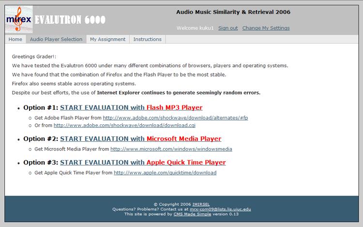 2006:Evalutron6000 Walkthrough For Audio Music Similarity and